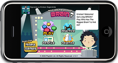 Who Has The Biggest Brain? iPhone and iPod Touch menu screen